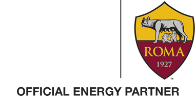 Logo di Edison e Roma. Official Energy partner