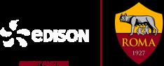 Logo di Edison e Roma. Official Energy partner